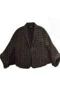 バッジレー・ミシュカ(サクッと着て洗練が宿る金糸ツィードケープジャケット)【黒/ゴールド】