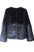Rish アネックス(フェイクファーふわふわで暖かい高見え衿なしコート/ジャケット)【黒】