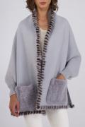 Rish NY Collection (ミンクのポケットとトリミング付き一見大判ショール実は袖付きラップコート)【ライトグレー】