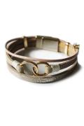 磁石で装着簡単!まるで重ねづけしているよう金具がアクセントになったブレスレット【ブラウン系皮革素材】
