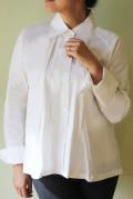 Rish アネックス(Aラインマニッシュなフォーマルにも合うタックしないで着るシャツ)【 白 】