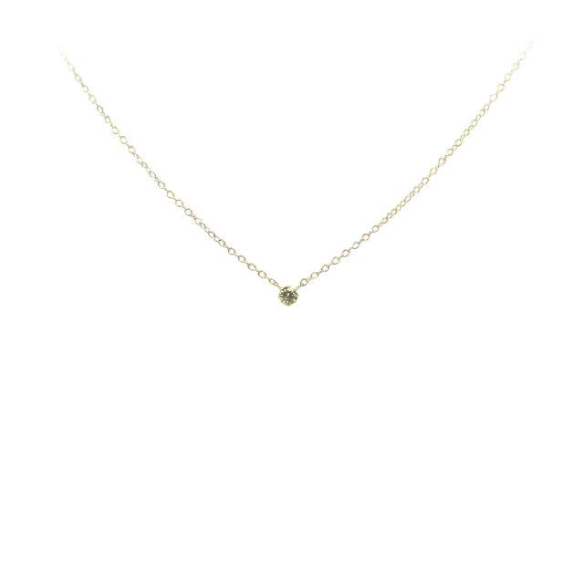 天然ダイヤモンド ネックレス(八本立爪型)K10(YG) 0.07ct