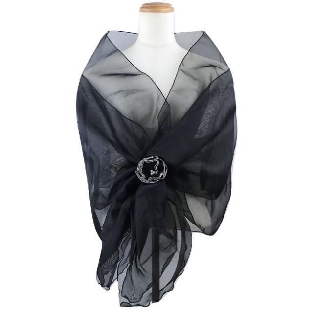 オーガンジーの華やかショール 黒