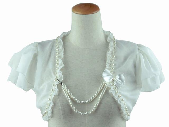 ボレロ 結婚式 パールラインが素敵なシフォン&レースボレロ リボン付きパールチェーン付属 白