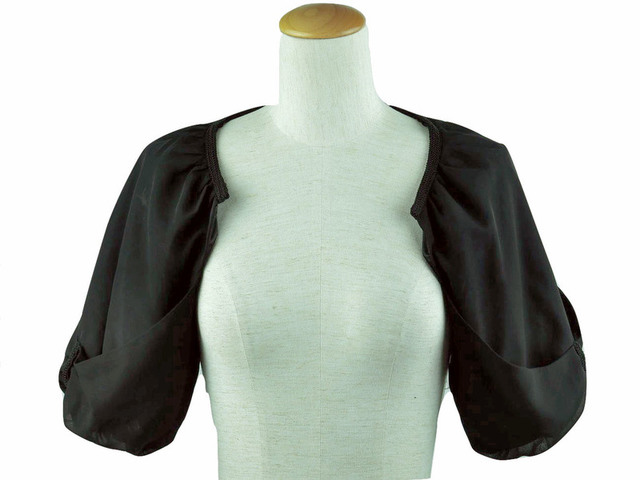 ボレロ 結婚式 リボンの袖が可愛いドルマンボレロ 黒
