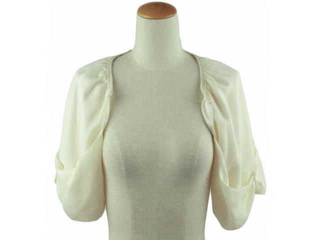 ボレロ 結婚式 リボンの袖が可愛いドルマンボレロ ベージュ