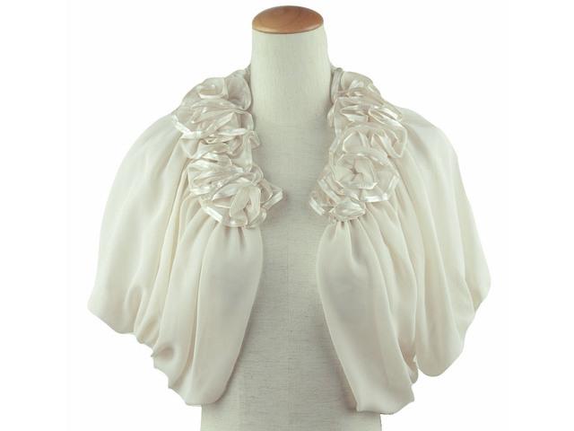●訳アリ●ボレロ 結婚式 華やかな襟元フリルが素敵なボレロ ベージュ