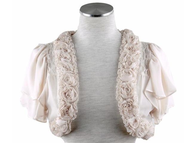 ボレロ 結婚式 華やかな薔薇モチーフが素敵なふんわりティアード袖のフォン&レースボレロ ベージュ 11号