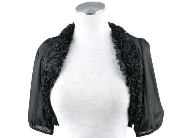 ボレロ 結婚式 薔薇モチーフが上品に輝く5分袖シフォンボレロ 黒