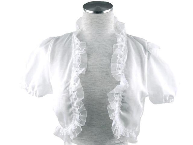 ボレロ 結婚式 重ねフリルが上品な可愛らしいバールン袖シフォンボレロ 白