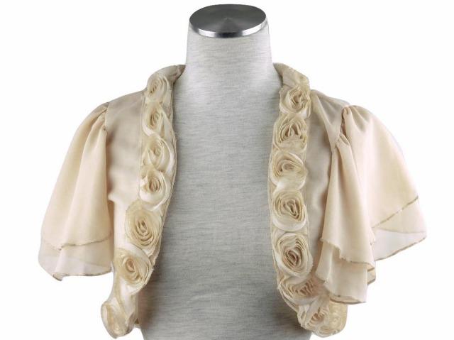 ボレロ 結婚式 薔薇モチーフがエレガントなティアード袖のシフォンボレロ