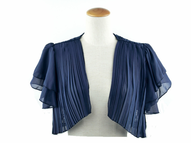 ボレロ 結婚式 ふんわりラッフル袖が可愛らしいシフォン&レースが上品なボレロ 紺