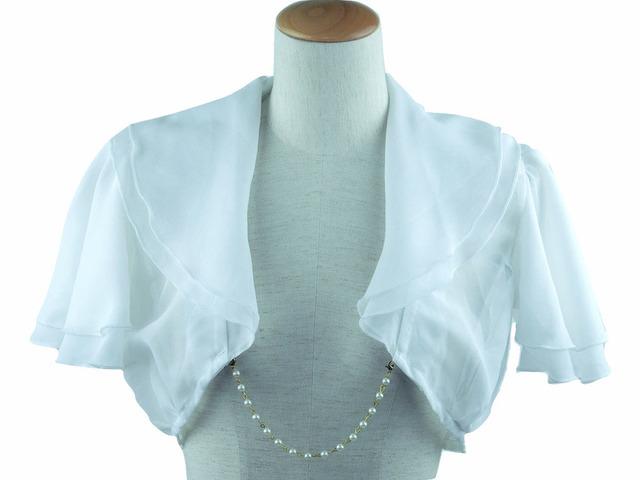 ボレロ 結婚式 幅広のふんわり襟のフレア・スリーブボレロ パールチェーン付 白