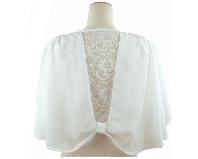 ボレロ 結婚式 ショールの様なバックレースのリボンデザインボレロ 白