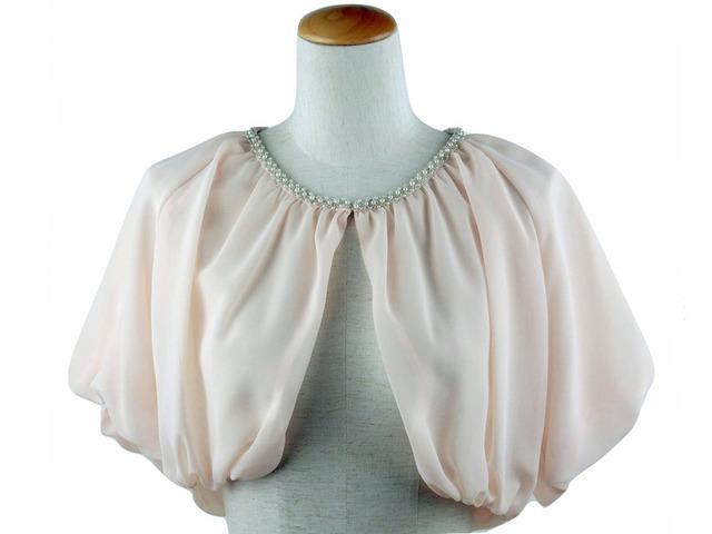 ボレロ 結婚式 襟元ビジューがエレガントなバックレースボレロ ピンクベージュ