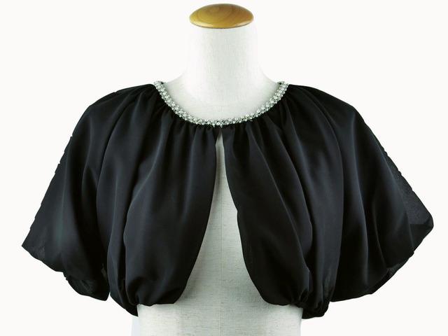 ボレロ 結婚式 襟元ビジューがエレガントなバックレースボレロ 黒