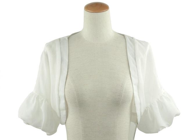ボレロ 結婚式 ふんわりバルーン袖のシフォンボレロ 白