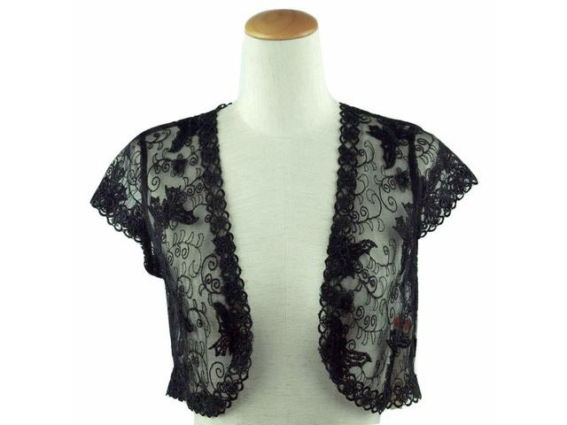 ボレロ 結婚式 パピヨン刺繍がエレガントなレースボレロ 黒