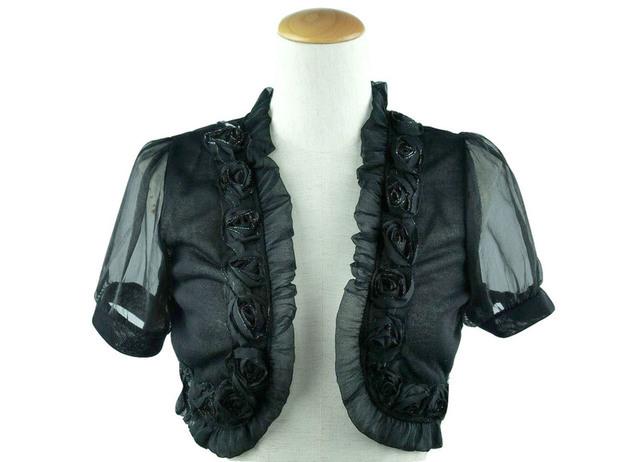 ボレロ 結婚式 薔薇モチーフが素敵なオーガンジー袖のニットボレロ 黒