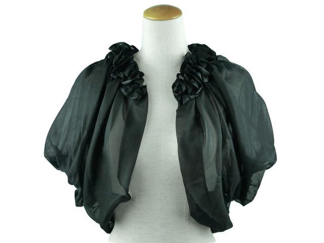 ボレロ 結婚式 華やかな襟元フリルが素敵なボレロ 黒