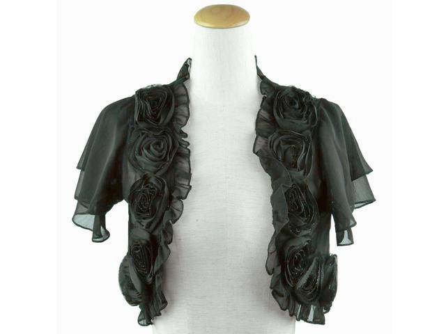 ボレロ 結婚式 薔薇モチーフ&ティアード袖が可愛いボレロ 黒
