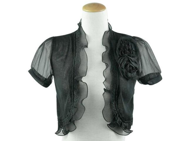ボレロ 結婚式 薔薇モチーフが華やかなオーガンジー袖のニットボレロ 黒