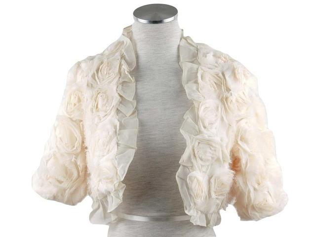 ボレロ 結婚式 薔薇が素敵なプリンセスシフォンボレロ ベージュ