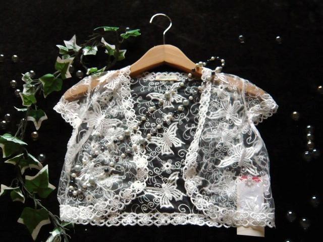 ボレロ パピヨン刺繍が素敵なシフォンフリルボレロ 白