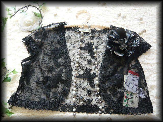 ボレロ パピヨン刺繍が素敵なシフォンフリルボレロ 黒