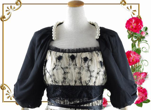 ボレロ パール 襟元パールが素敵なふんわりシフォンボレロ 黒