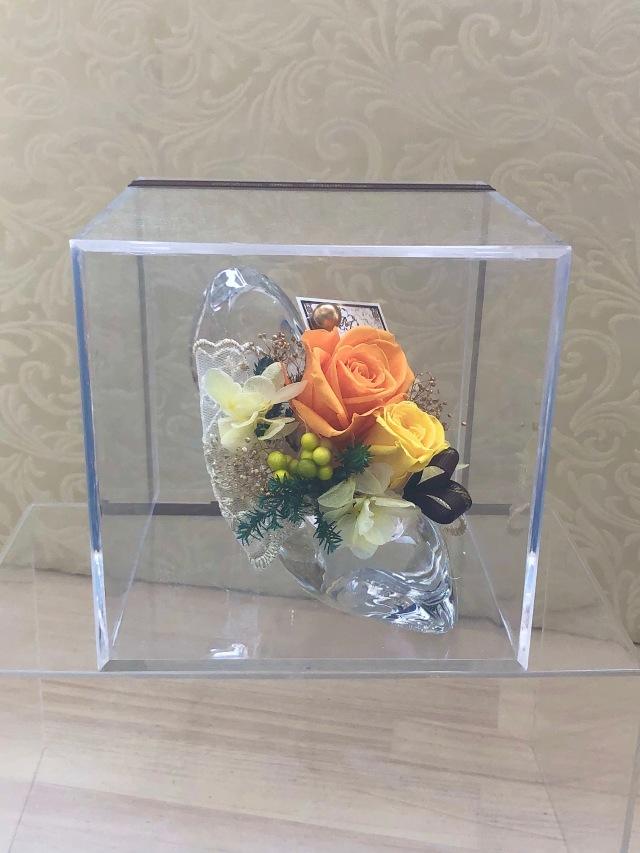 池袋 プリザーブドフラワー専門店 フラワーショップリズカ バラ ローズ ガラスの靴 レッド パープル オレンジ 青バラ