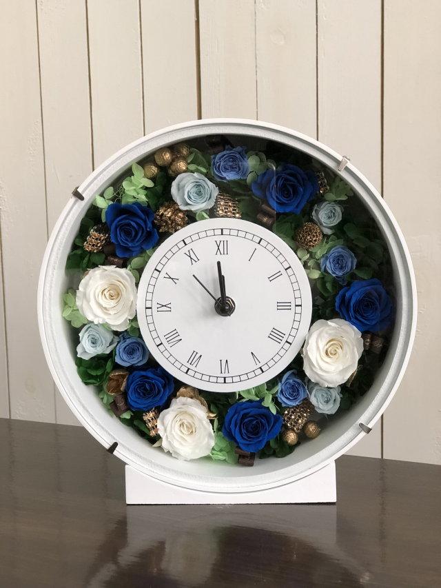 池袋 プリザーブドフラワー専門店 フラワーショップリズカ花時計プリザーブドフラワーブルー青バラ