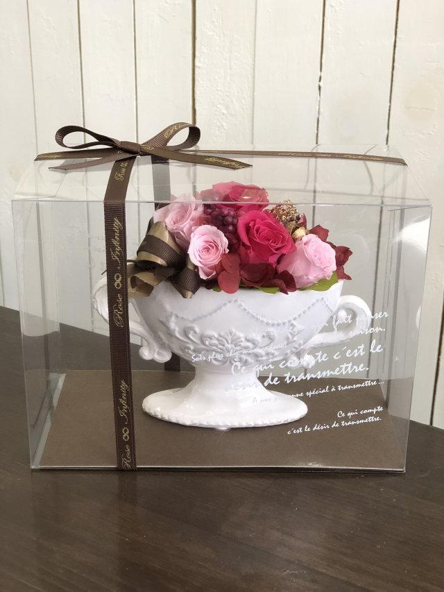 池袋 プリザーブドフラワー専門店 フラワーショップリズカ 手付きの可愛いオーバルプリザーブドフラワー ピンク