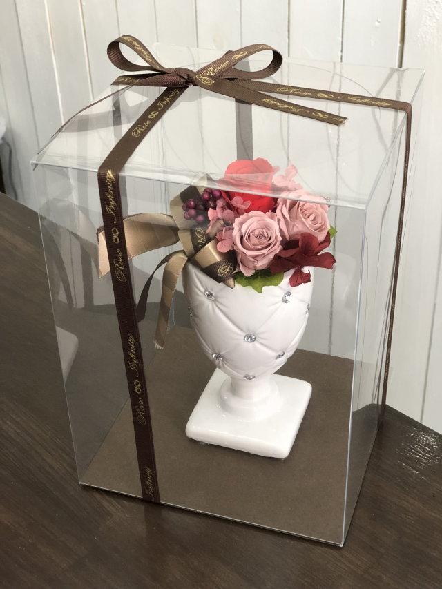 池袋、プリザーブドフラワー専門店 フラワーショップリズカキラキラストーンの可愛いトールプリザーブドフラワーレッド赤バラ