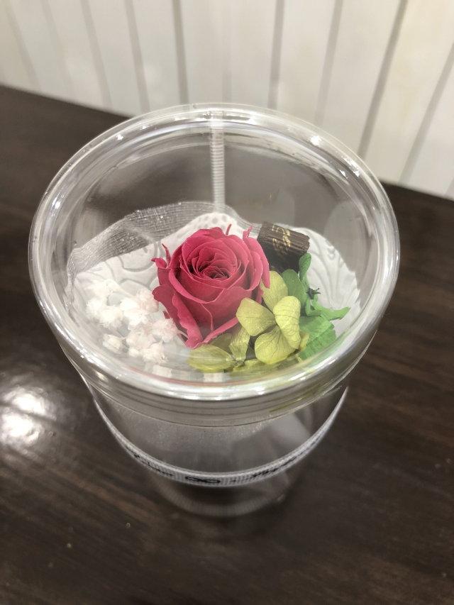 池袋 プリザーブドフラワー専門店 フラワーショップリズカ手のひらサイズの可愛い花束ブーケ濃いピンク