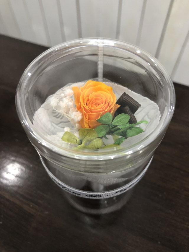 池袋 プリザーブドフラワー専門店 フラワーショップリズカ手のひらサイズの可愛い花束ブーケオレンジ
