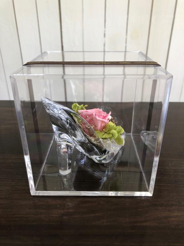 池袋 プリザーブドフラワー専門店 フラワーショップリズカ アクリルミニヒール ピンク・パープル