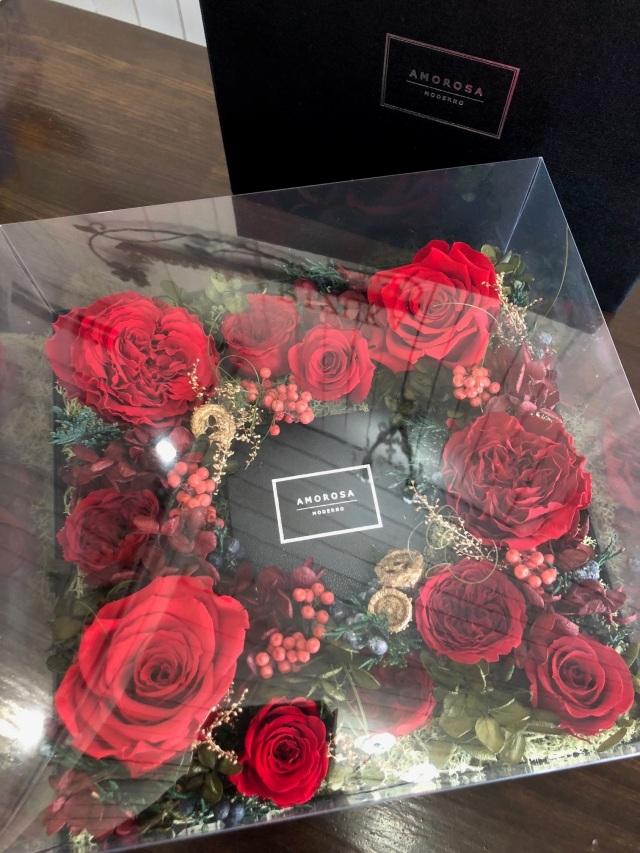 池袋 プリザーブドフラワー専門店 フラワーショップリズカグロリアスボックスフラワー Lプリザーブドフラワーレッド赤バラ