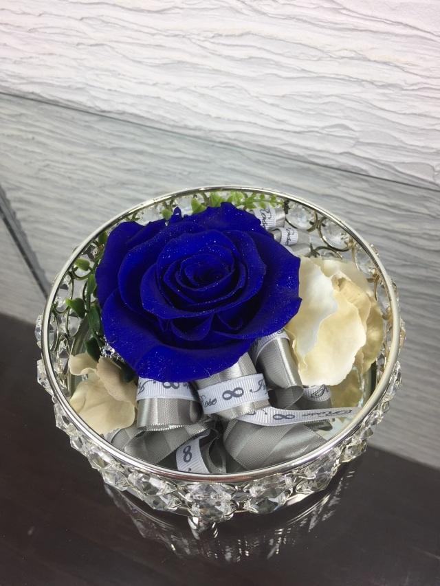 池袋 プリザーブドフラワー専門店 フラワーショップリズカのダイヤモンドローズブルー キラキラシルバーミラー