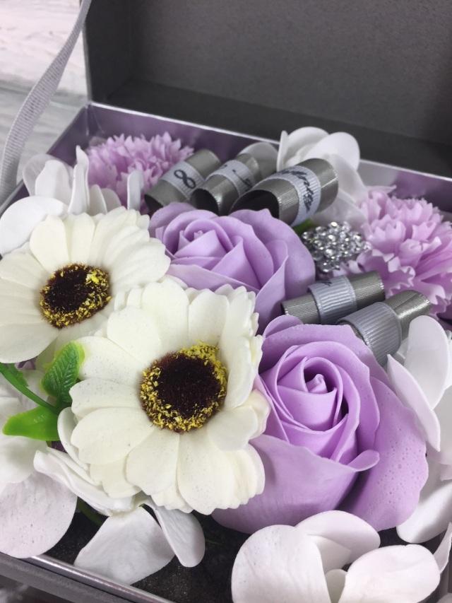 池袋 プリザーブドフラワー専門店フラワーショップリズカ フラワーフレグランスアレンジボックス紫
