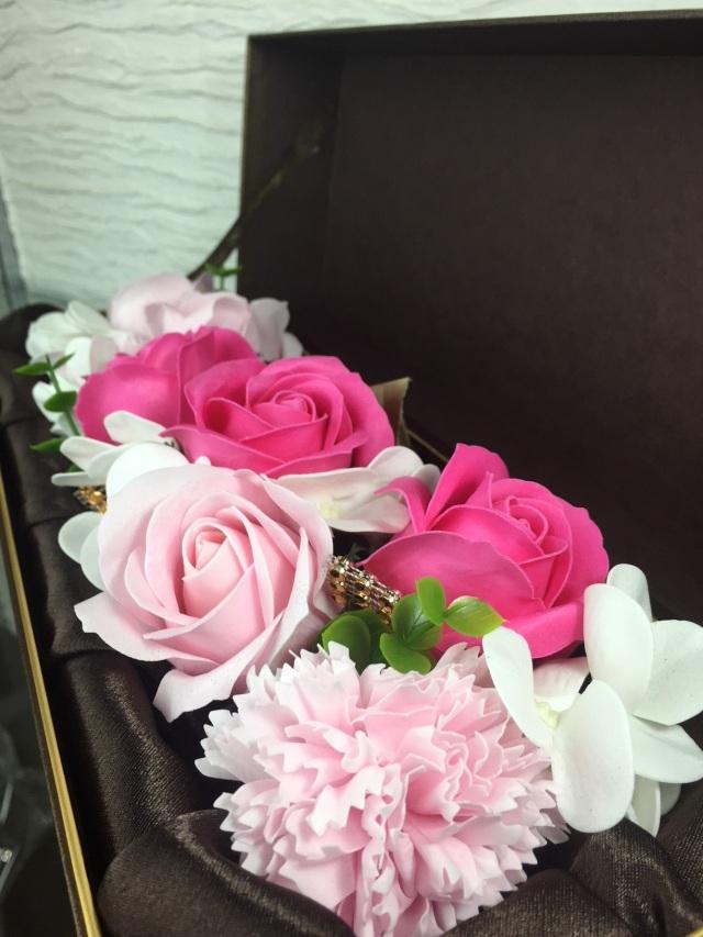 池袋 プリザーブドフラワー専門店 フラワーショップリズカ フラワーフレグランス長方形ボックス紫ピンク