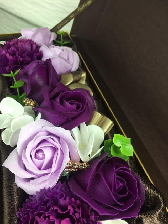 池袋 プリザーブドフラワー専門店 フラワーショップリズカ フラワーフレグランス長方形ボックス紫