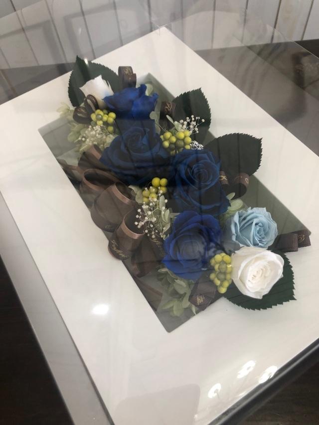 池袋 プリザーブドフラワー専門店 フラワーショップリズカ 東京 青バラ 壁掛け フレーム ブルーローズ 販売
