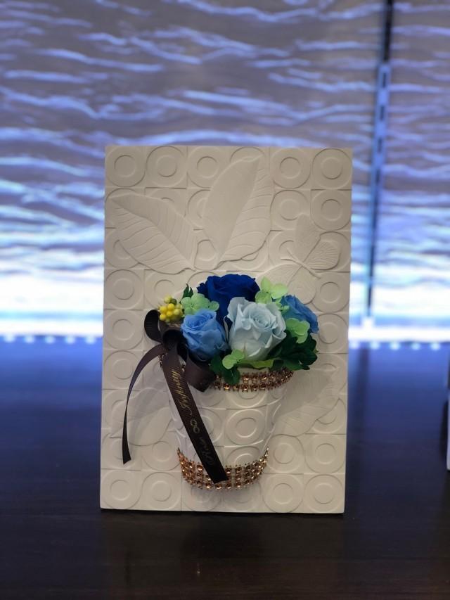 池袋 プリザーブドフラワー専門店 フラワーショップリズカ フレームリーフプリザーブドフラワーM ブルー