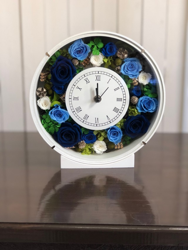 池袋プリザーブドフラワー専門店フラワーショップリズカ花時計プリザーブドフラワーブルー青バラ