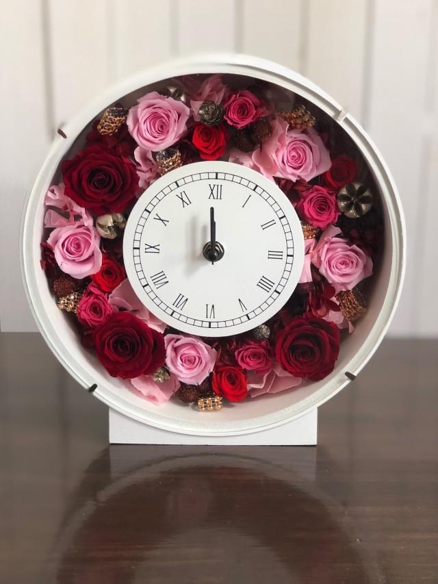 池袋プリザーブドフラワー専門店フラワーショップリズカ花時計プリザーブドフラワーピンク