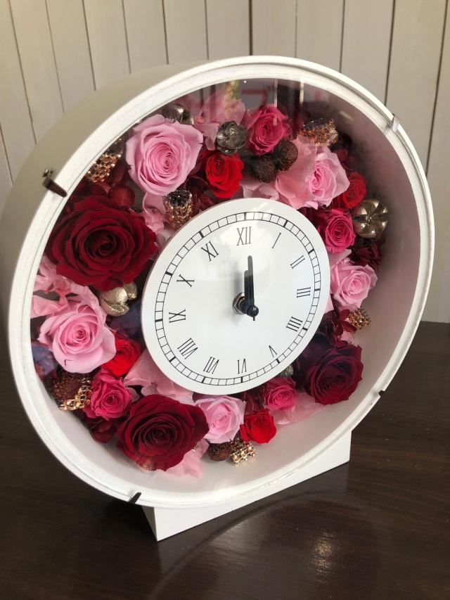 池袋プリザーブドフラワー専門店フラワーショップリズカ花時計プリザーブドフラワーレッドピンク