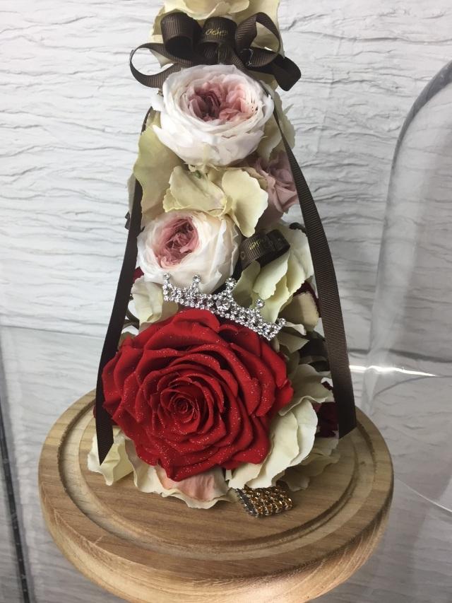 池袋 プリザーブドフラワー専門店 フラワーショップリズカ ダイヤモンドローズレッド ガラスドーム