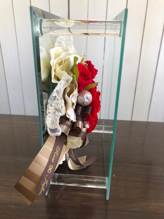 池袋 プリザーブドフラワー専門店 フラワーショップリズカガラスミラーフレームLレッド赤バラ