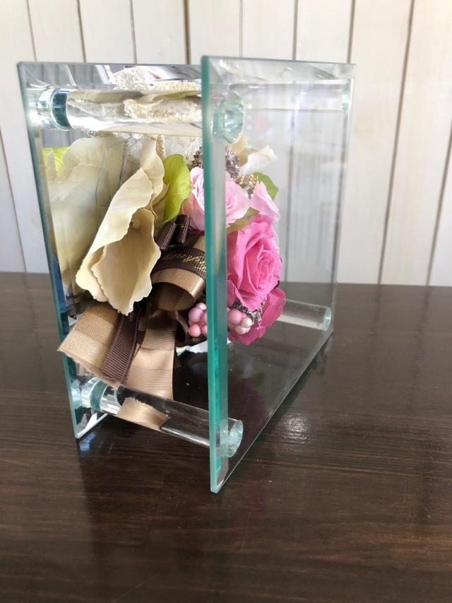 池袋 プリザーブドフラワー専門店 フラワーショップリズカガラスミラーフレームMプリザーブドフラワー ピンク